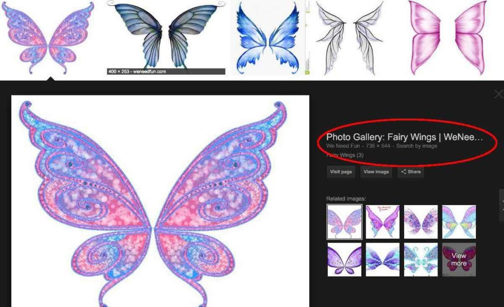 Image of Google search result after clicking fairy wings image