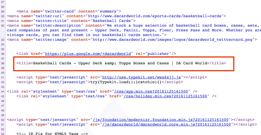 Image of page title sitting inside code. SEO for beginners