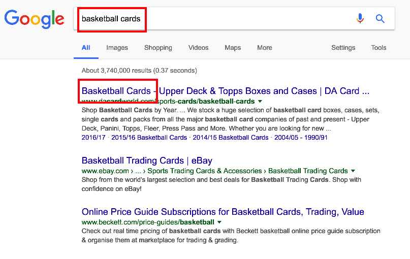 "Image highlighting ""basketball cards"" keywords after search. SEO for Beginners."