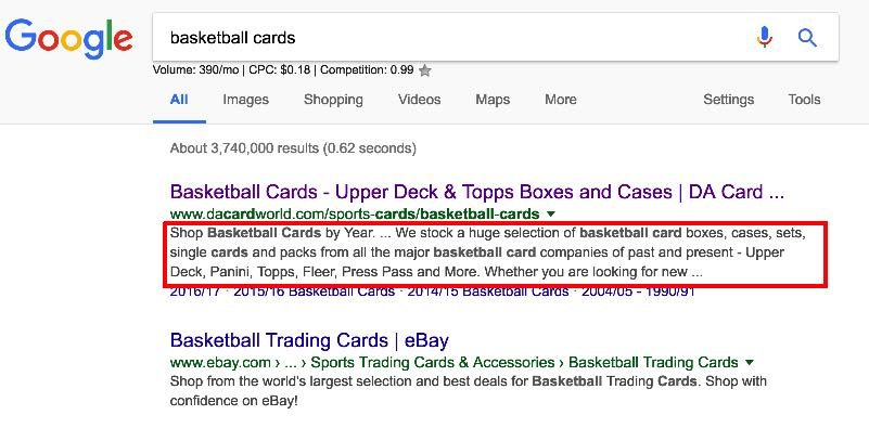"Image highlighting meta description containing ""basketball cards"" keywords. SEO for Beginners."