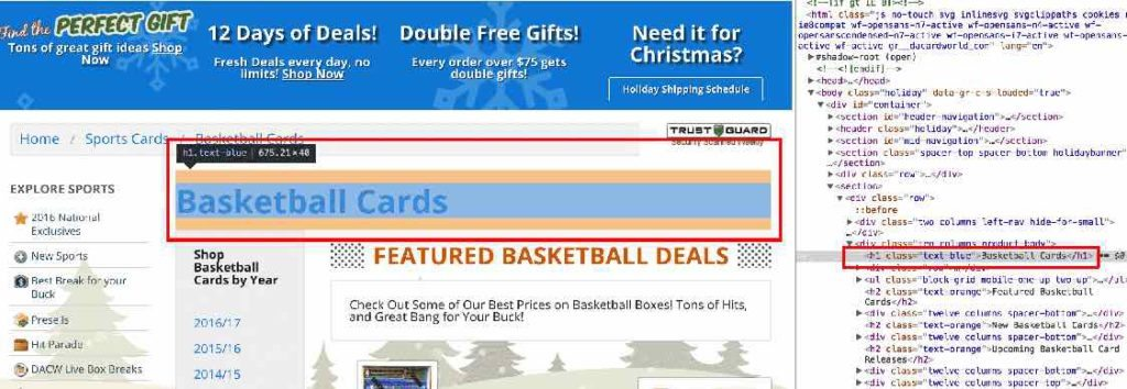 "Image highlighting ""basketball cards"" keywords in H1 tag. SEO for Beginners."