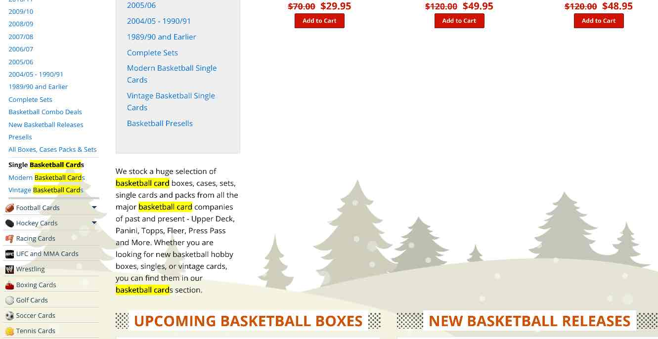 "Image highlighting ""basketball cards"" keywords in content of page. SEO for Beginners."
