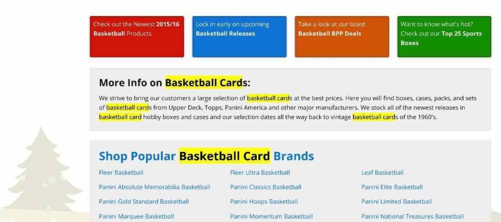 "Image highlighting ""basketball cards"" keywords in content on lower part of page. SEO for Beginners."