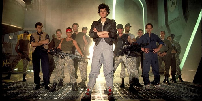 Image of James Cameron's Aliens film cast